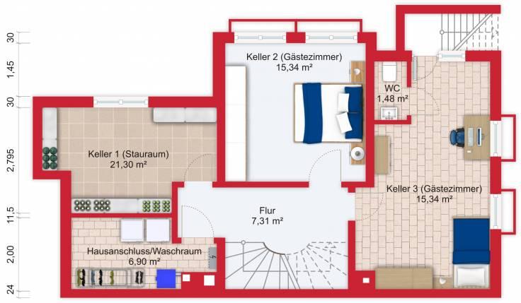Grundriss (Untergeschoss) - Miete 9ZDHH Bad Soden mit 255m²