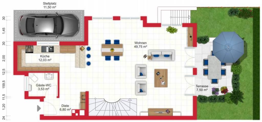 Grundriss (Erdgeschoss) - Miete 9ZDHH Bad Soden mit 255m²