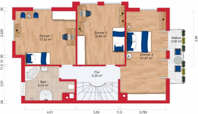 Grundriss (Obergeschoss) - Miete 9ZDHH Bad Soden mit 255m²