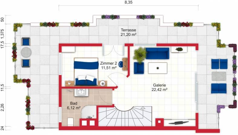Grundriss (Dachgeschoss) - Miete 9ZDHH Bad Soden mit 255m²