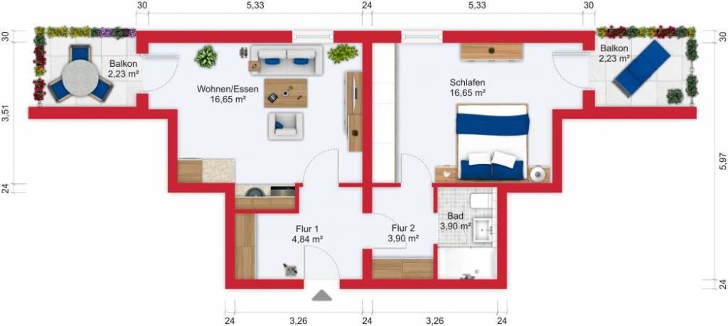 Grundriss / Wohnplan - Miete 2ZW Sulzbach mit 50,4m²