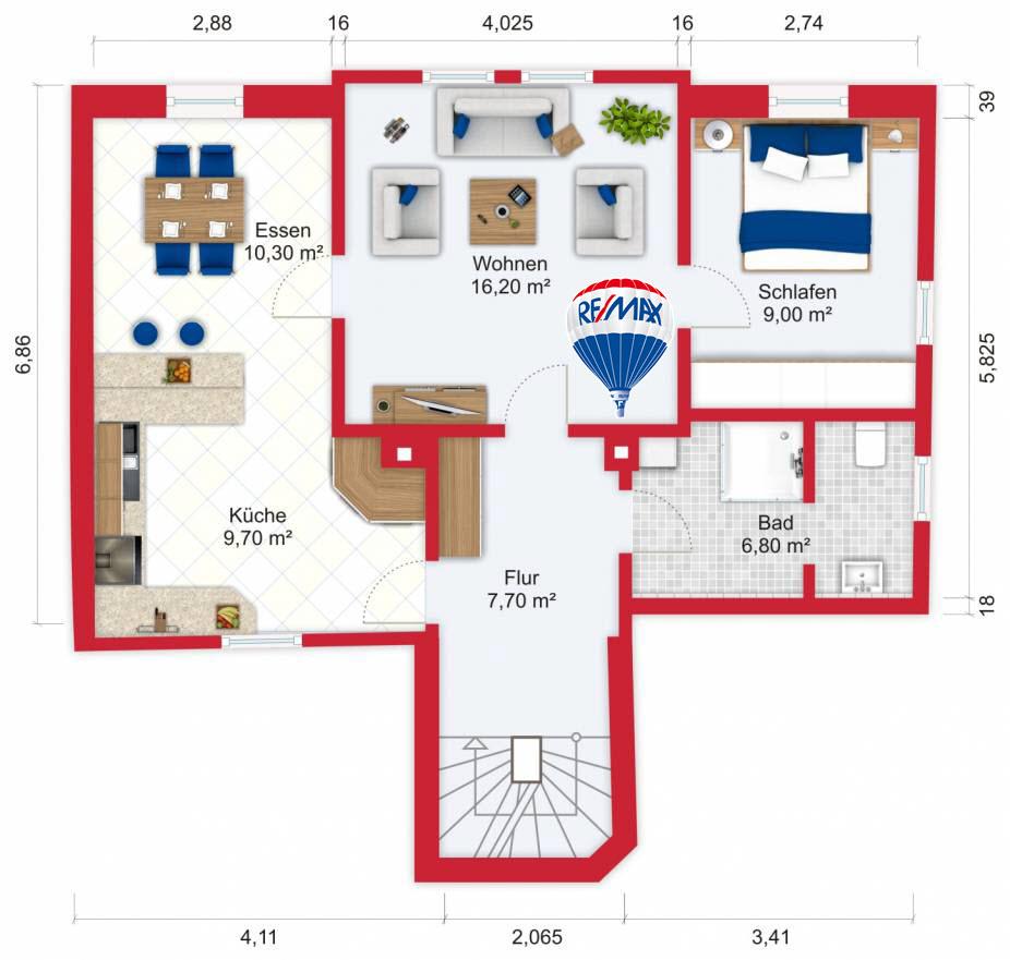 Grundriss / Wohnplan - Miete 2,5ZW FFM-Heddernheim mit 59,7m²