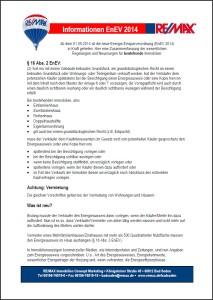 Information Energieeinsparverordnung (EnEv 2014)
