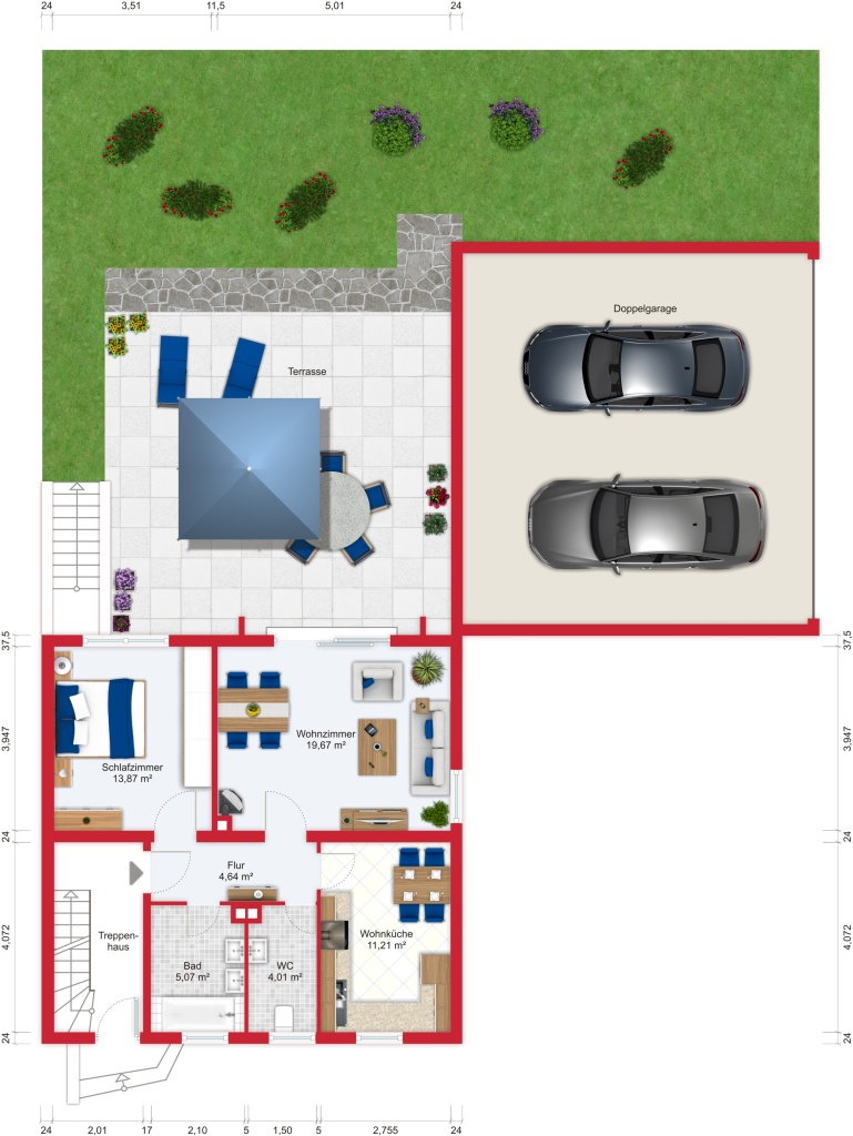 Grundriss (Erdgeschoss) - Kauf EFH Bad Soden mit 170m²