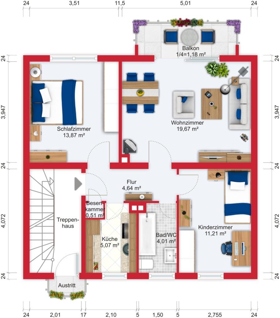 Grundriss (Obergeschoss) - Kauf EFH Bad Soden mit 170m²