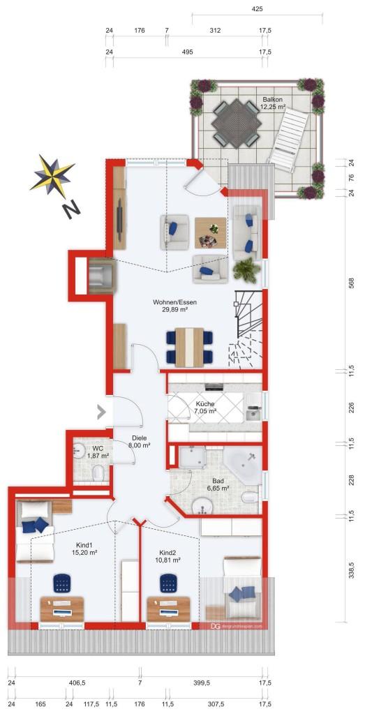 Wohnplan (untere Ebene) - Kauf 4ZETW Bad Soden mit 109m²