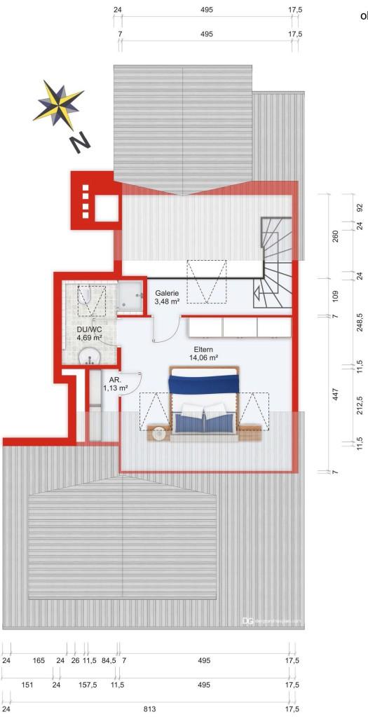 Wohnplan (obere Ebene) - Kauf 4ZETW Bad Soden mit 109m²