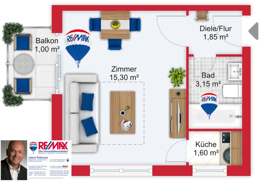 Grundriss / Wohnplan - Miete 1ZW FFM-Westend-Süd mit 22,9m²