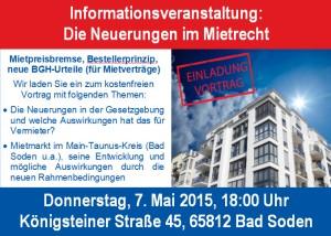 Die Neuerungen im Mietrecht: Donnerstag, 7. Mai 2015 um 18:00 Uhr
