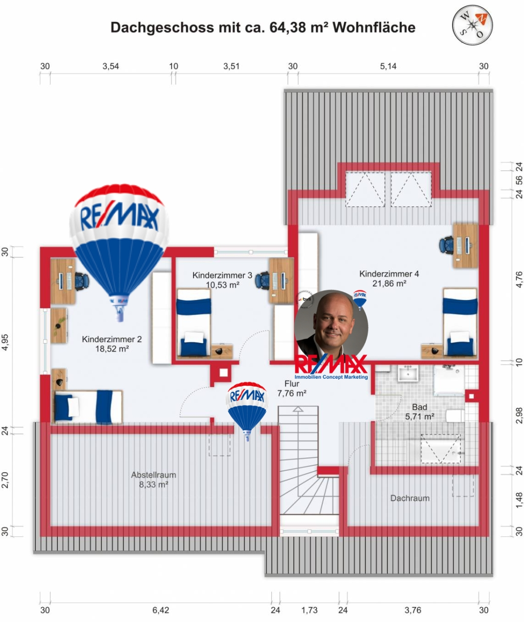 Grundriss (Obergeschoss) - Kauf 6ZEFH Bad Homburg-Kirdorf mit 168,94m²