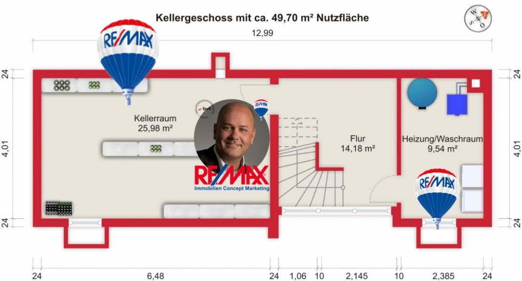 Grundriss (Kellergeschoss) - Kauf 6ZEFH Bad Homburg-Kirdorf mit 168,94m²