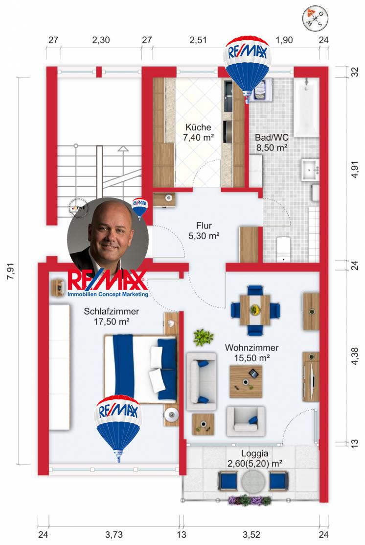 Grundriss / Wohnplan - Miete 2ZW Heusenstamm mit 56,8m²