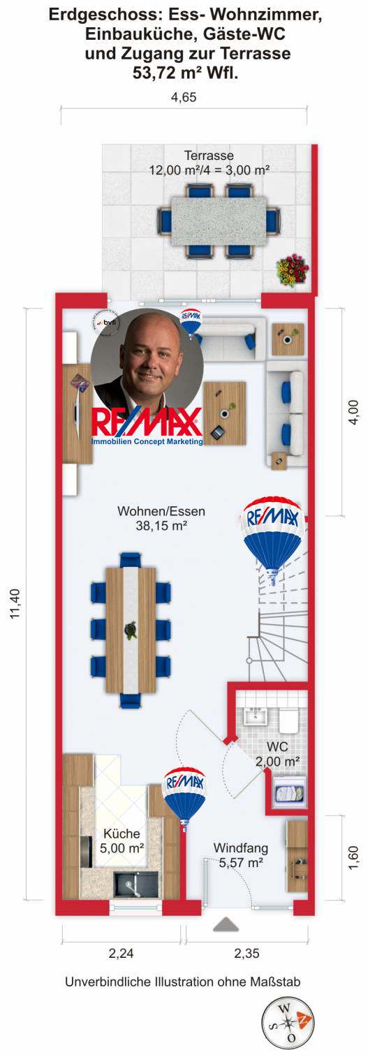 Grundriss (Erdgeschoss) - Kauf 5ZRMH Maintal-Dörnigheim mit 135,69m²