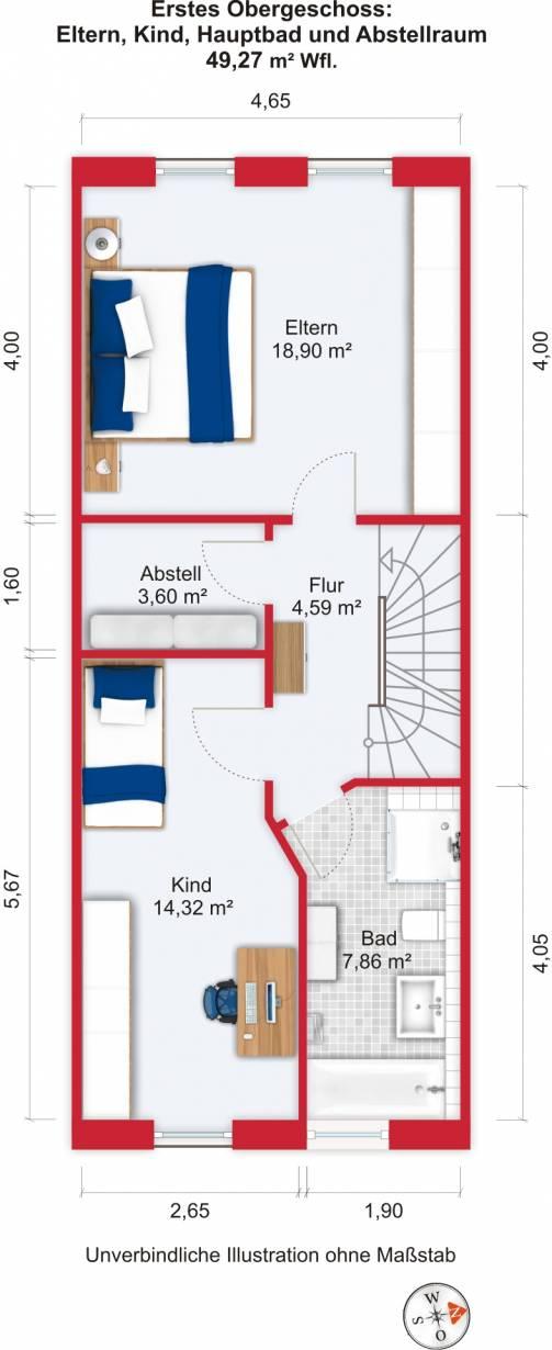 Grundriss (Obergeschoss) - Kauf 5ZRMH Maintal-Dörnigheim mit 135,69m²