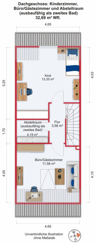 Grundriss (Dachgeschoss) - Kauf 5ZRMH Maintal-Dörnigheim mit 135,69m²