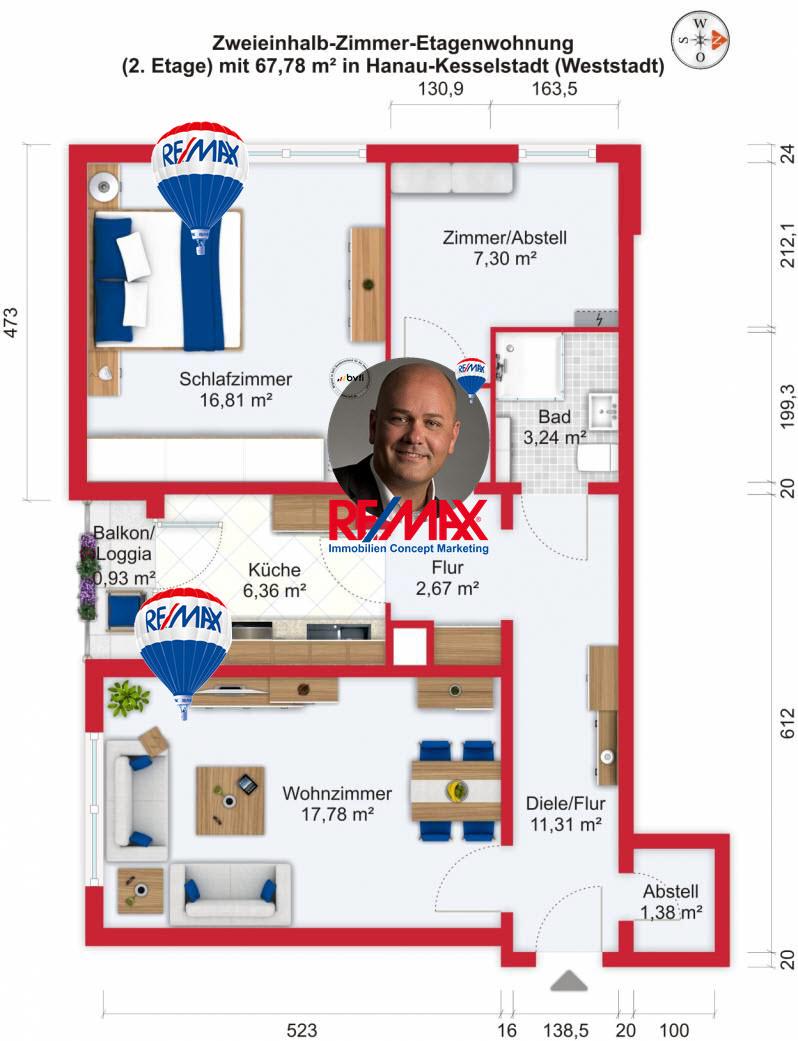 Grundriss / Wohnplan: Kauf 2,5ZETW Hanau-Kesselstadt mit 67,78m²