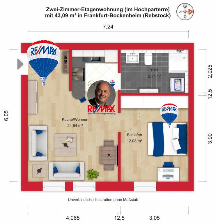 Grundriss / Wohnplan - Miete 2ZW FFM-Bockenheim-Rebstock mit 43,09m²