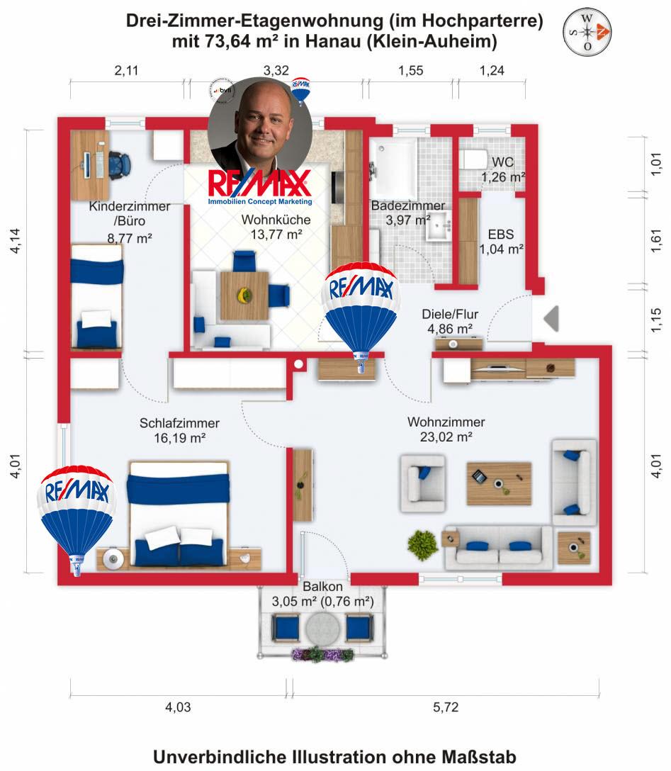 Grundriss / Wohnplan - Kauf 3ZETW Hanau (Klein-Auheim) mit 73,64m²