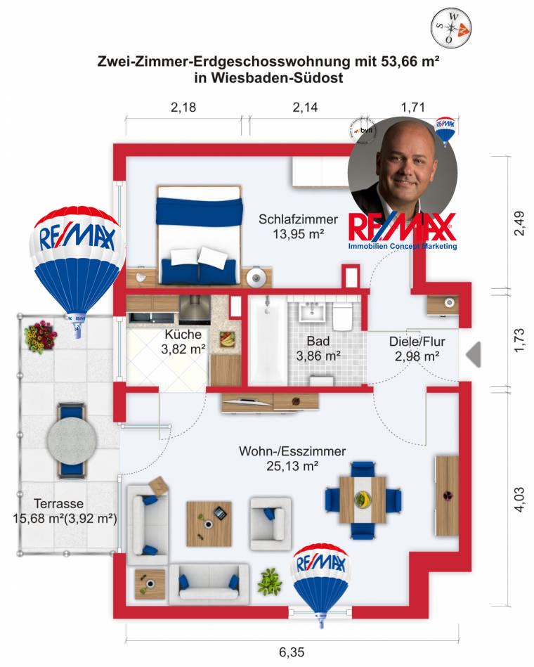Grundriss / Wohnplan - Kauf 2ZEGW Wiesbaden-Südost mit 53,66m²