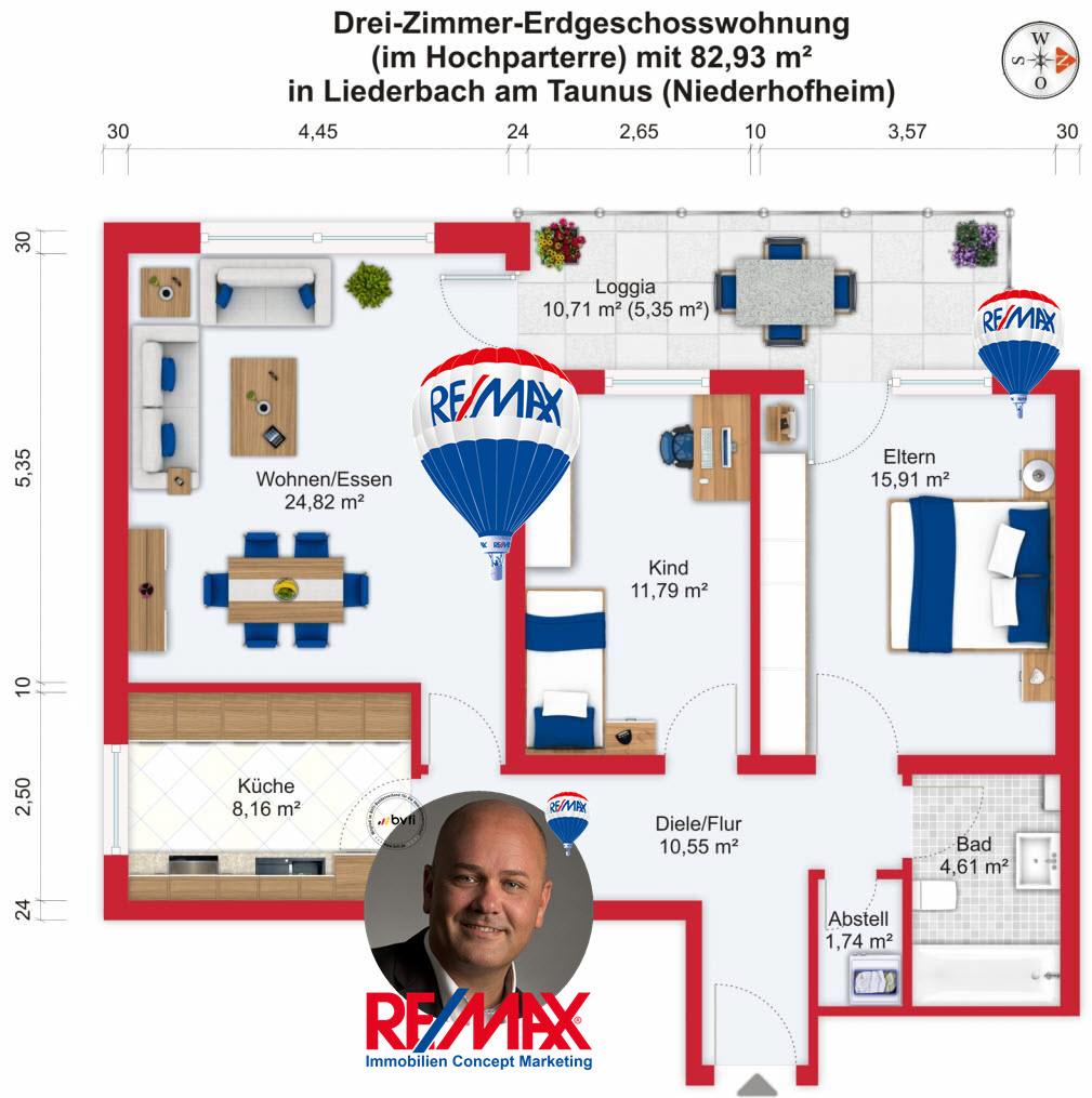 Grundriss / Wohnplan: Kauf 3ZEGW Liederbach-Niederhofheim mit 82,93m²