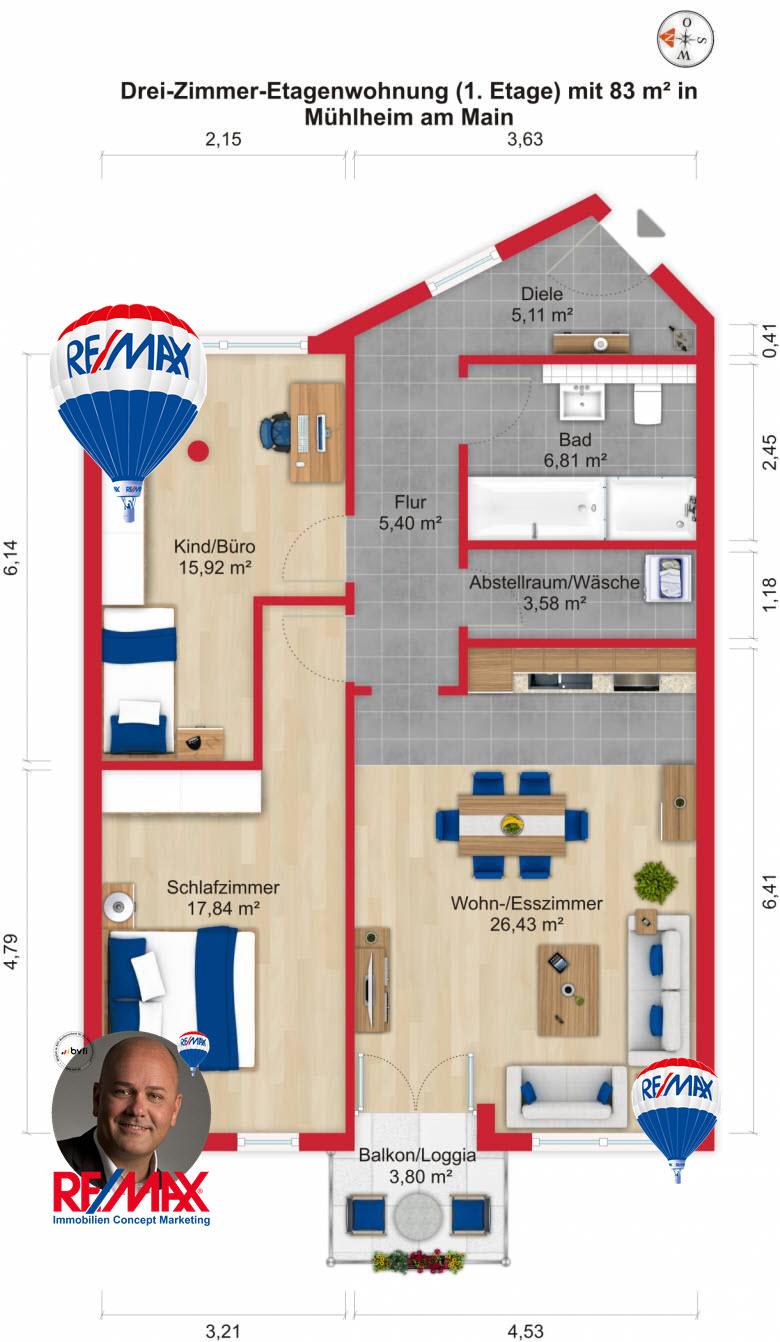 Grundriss / Wohnplan: Kauf 3ZETW Mühlheim am Main mit 83m²