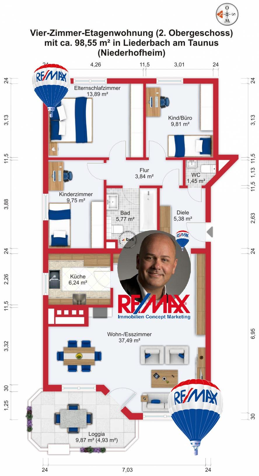 Grundriss / Wohnplan: Kauf 4ZETW Liederbach-Niederhofheim mit 98,55m²