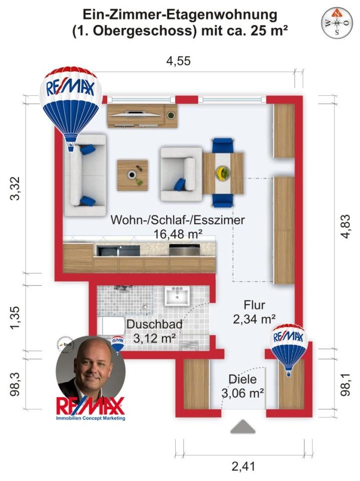 Grundriss / Wohnplan - Miete 1ZW (möbliert) FFM-Ostend mit 25m²